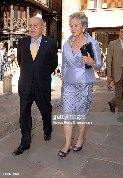 Jordi Pujol and jis wife Marta Ferrusola attend Adriana Antich Ambattle Jose Antich's daughther and Eugenio Rodriguez weedding at santa Maria del Mar...