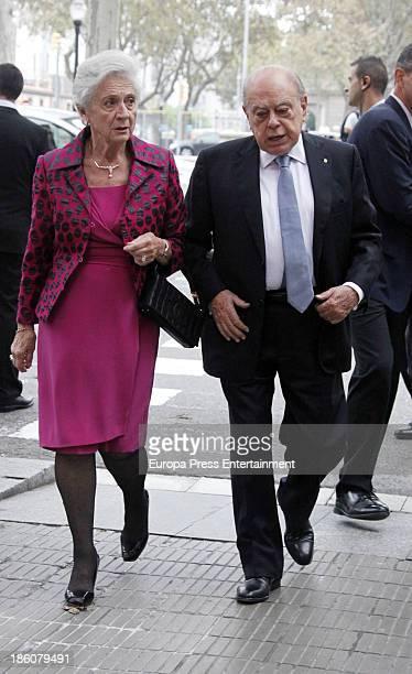 Jordi Pujol and Marta Ferrusola attend the wedding of Pablo Lara and Anna Trufau at Santa Maria del Mar on October 26 2013 in Barcelona Spain