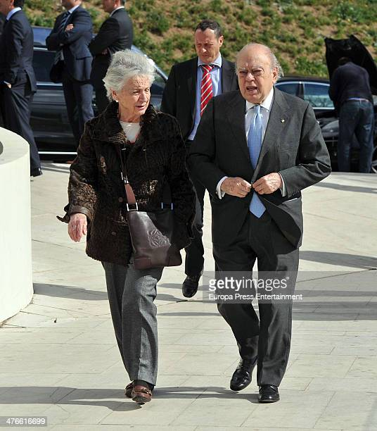 Jordi Pujol and Marta Ferrusola atttend the funeral for Ricard Fornesa at Sant Gervasi morgue on March 3 2014 in Barcelona Spain