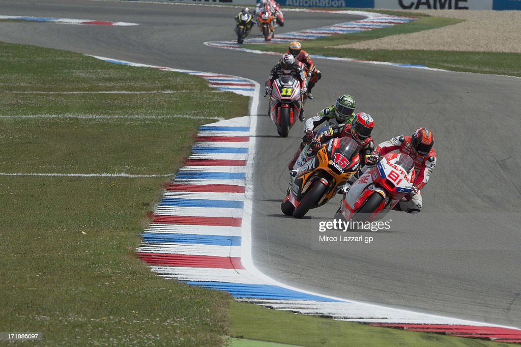 Jordi Torres of Spain and Aspar Team Moto2 leads the field during the Moto2 race during the MotoGp Of Holland - Race at TT Circuit Assen on June 29, 2013 in Assen, Netherlands.