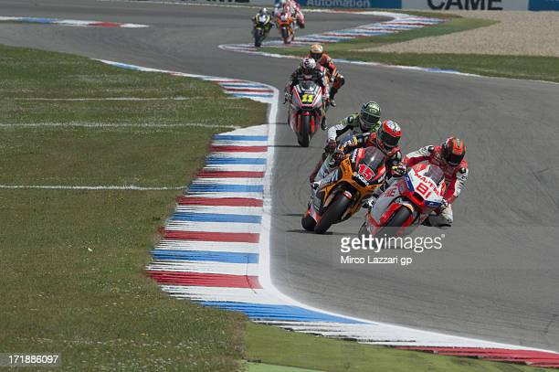 Jordi Torres of Spain and Aspar Team Moto2 leads the field during the Moto2 race during the MotoGp Of Holland Race at TT Circuit Assen on June 29...