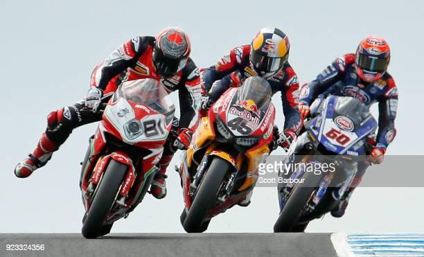 Jordi Torres of Spain and MV Agusta Reparto Corse Jacob Gagne of the United States and Red Bull Honda World Superbike Team and Michael van der Mark...