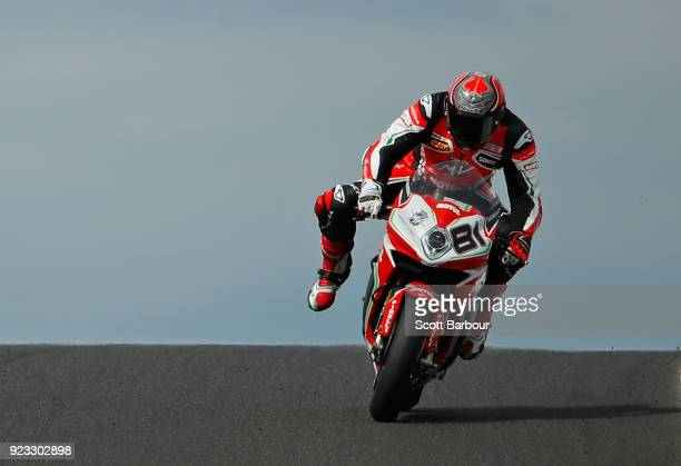 Jordi Torres of Spain and MV Agusta Reparto Corse rides in the FIM Superbike World Championship Free Practice session ahead of the 2018 Superbikes at...