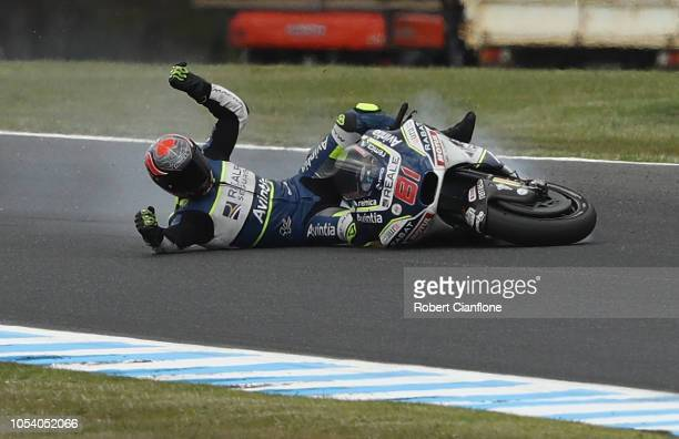 Jordi Torres of Spain and Reale Avintia Racing crashes during practice for the 2018 MotoGP of Australia at Phillip Island Grand Prix Circuit on...
