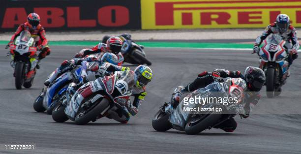 Jordi Torres of Spain and Team Pedercini Racing leads the field during the Tissot Superpole race during the FIM Superbike World Championship in...