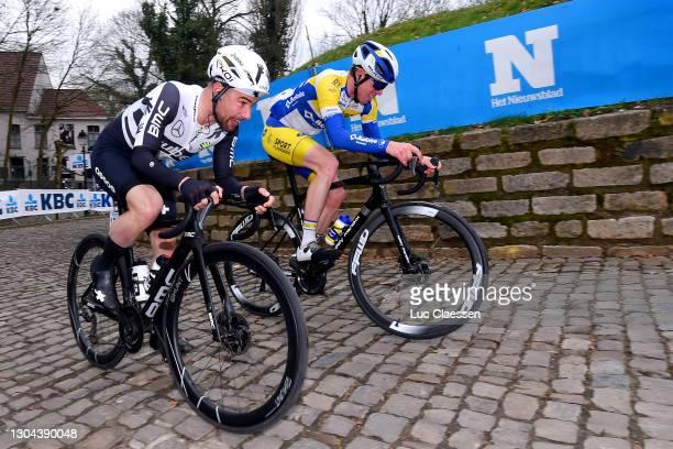 Jordi Warlop of Belgium and Team Sport Vlaanderen - Baloise & Victor Campenaerts of Belgium and Team Qhubeka Assos during the 76th Omloop Het...