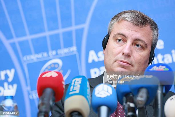 Jordi Xucla head of the PACE observation mission talks to the press one day after parliamentary elections in Baku The Election Observation Mission of...