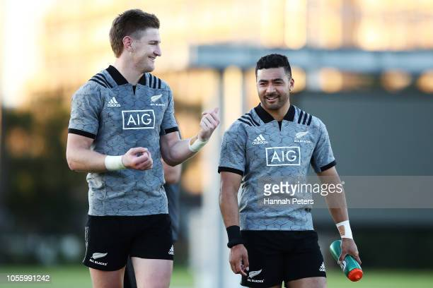 Jordie Barrett and Richie Mo'unga chat during the New Zealand All Blacks Training Session at the Arcs Urayasu Park on November 1 2018 in Urayasu...