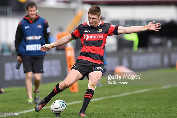 Jordie Barrett of Canterbury kicks a conversion during the Mitre 10 Cup Semi Final match between Canterbury and Counties Manukau on October 23 2016...