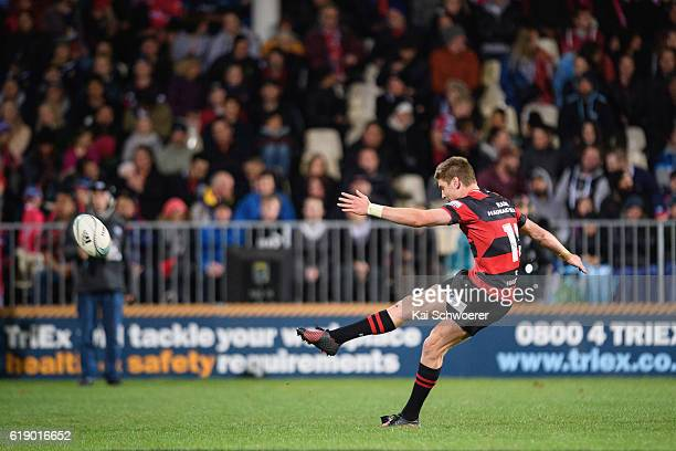 Jordie Barrett of Canterbury kicks a conversion during the Mitre 10 Cup Premiership Final match between Canterbury and Tasman at AMI Stadium on...