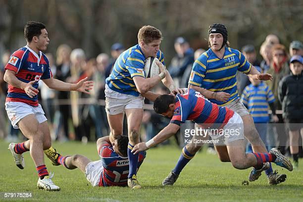 Jordie Barrett of Lincoln University charges forward during the Hawkins Division 1 Trophy Semi Final match between Lincoln University and Sydenham RC...