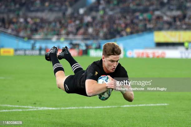 Jordie Barrett of New Zealand scores his team's seventh try during the Rugby World Cup 2019 Quarter Final match between New Zealand and Ireland at...