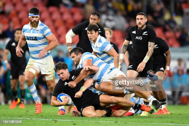 Jordie Barrett of the All Blacks is tackled during The Rugby Championship match between the Argentina Pumas and the New Zealand All Blacks at Suncorp...