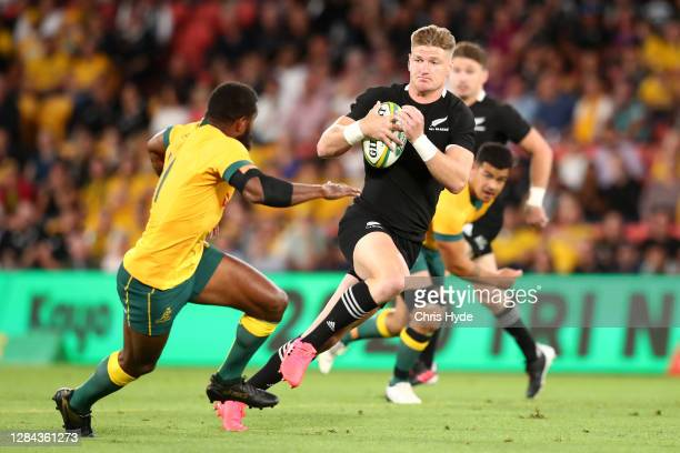 Jordie Barrett of the All Blacks makes a break during the 2020 Tri-Nations match between the Australian Wallabies and the New Zealand All Blacks at...