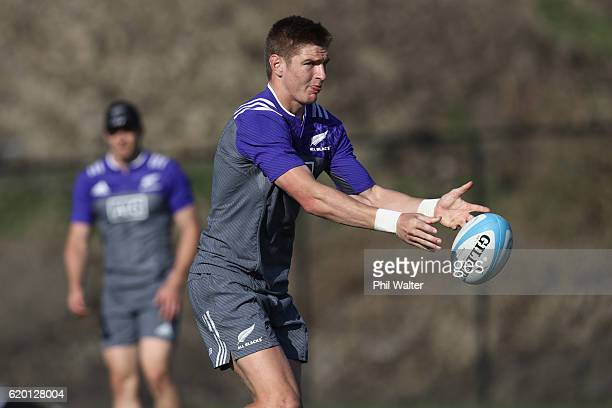 Jordie Barrett of the All Blacks passes during a training session at Toyota Park on November 1 2016 in Chicago Illinois
