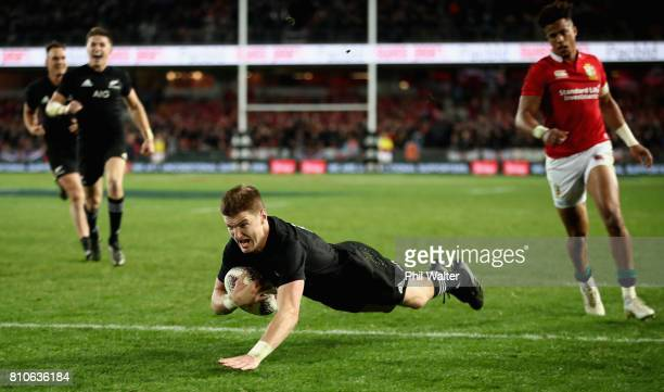 Jordie Barrett of the All Blacks scores his sides second try during the third Test match between the New Zealand All Blacks and the British Irish...
