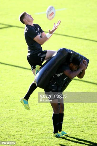 Jordie Barrett of the All Blacks takes the high ball during the New Zealand All Blacks Captain's Run at Eden Park on June 8 2018 in Auckland New...
