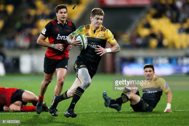 Jordie Barrett of the Hurricanes breaks away for a try during the round 17 Super Rugby match between the Hurricanes and the Crusaders at Westpac...