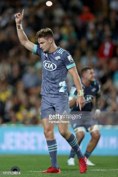 Jordie Barrett of the Hurricanes celebrates after kicking the winning penalty to win the round seven Super Rugby match between the Chiefs and the...