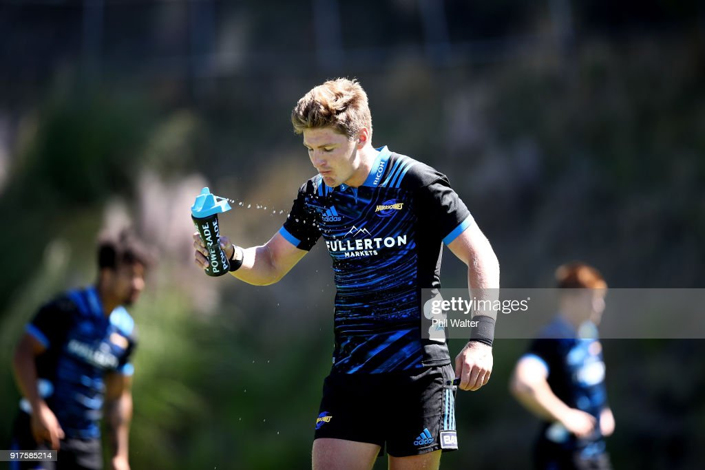 Jordie Barrett of the Hurricanes during a Hurricanes Super Rugby training session at Rugby League Park on February 13, 2018 in Wellington, New Zealand.