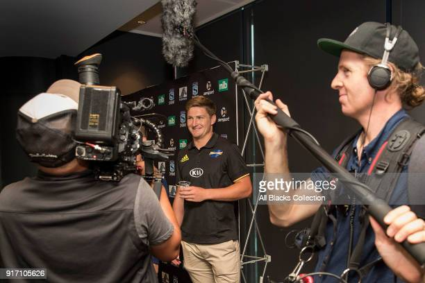 Jordie Barrett of the Hurricanes is interviewed by media during the 2018 New Zealand Super Rugby Launch at Skycity Convention Centre on February 12...