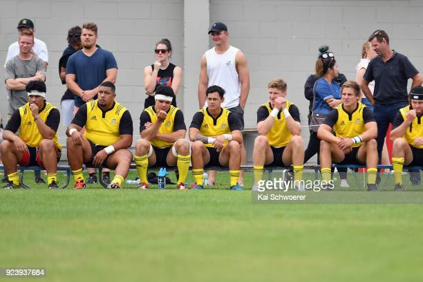 Jordie Barrett of the Hurricanes looks on from the bench during the match between the Crusaders Knights and the Hurricanes development team on...