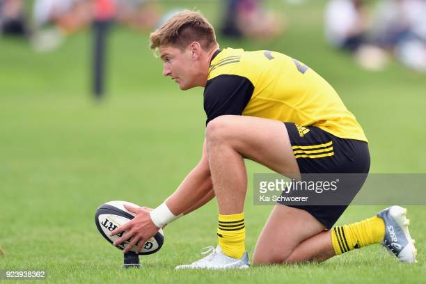 Jordie Barrett of the Hurricanes looks to kick a conversion during the match between the Crusaders Knights and the Hurricanes development team on...