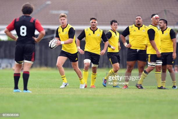 Jordie Barrett of the Hurricanes looks to kick the ball during the match between the Crusaders Knights and the Hurricanes development team on...