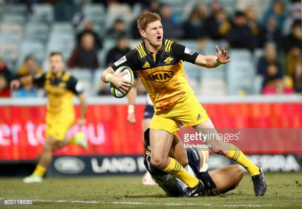 Jordie Barrett of the Hurricanes reacts after being called back as he heads to the try line to score during the Super Rugby Quarter Final match...