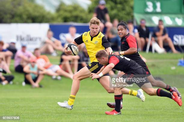 Jordie Barrett of the Hurricanes runs through to score a try during the match between the Crusaders Knights and the Hurricanes development team on...