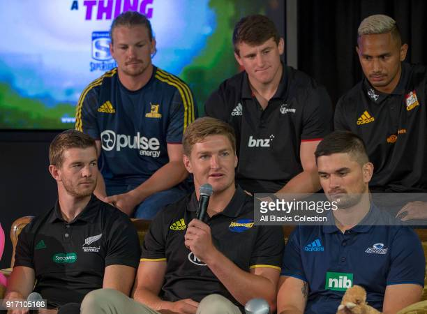 Jordie Barrett of the Hurricanes speaks during the 2018 New Zealand Super Rugby Launch at Skycity Convention Centre on February 12 2018 in Auckland...