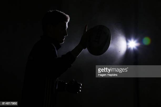 Jordie Barrett of the Hurricanes takes the field to warm up during the round 17 Super Rugby match between the Hurricanes and the Crusaders at Westpac...