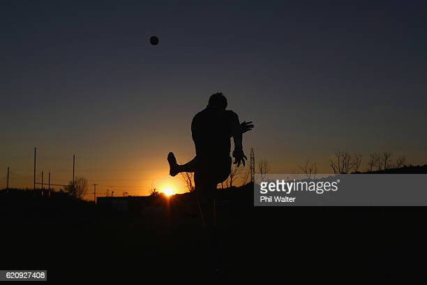 Jordie Barrett of the New Zealand All Blacks kicks at goal as the sun sets during a training session at Toyota Park on November 3 2016 in Chicago...