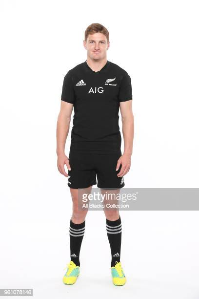 Jordie Barrett poses during a New Zealand All Blacks headshots session on May 21 2018 in Auckland New Zealand