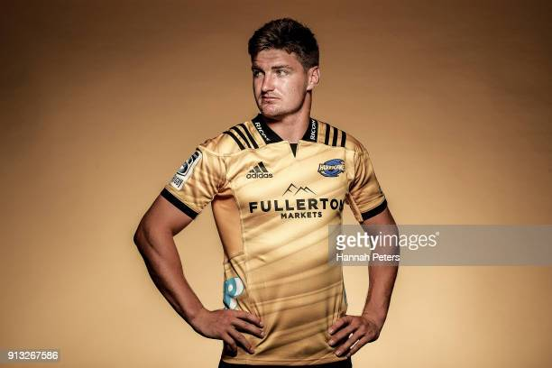 Jordie Barrett poses during the Wellington Hurricanes 2018 Super Rugby headshots session on January 22 2017 in Auckland New Zealand