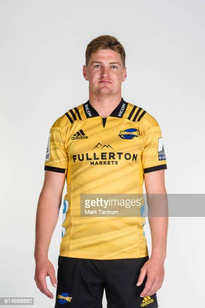 Jordie Barrett poses during the Wellington Hurricanes 2018 Super Rugby headshots session on December 15 2017 in Wellington New Zealand
