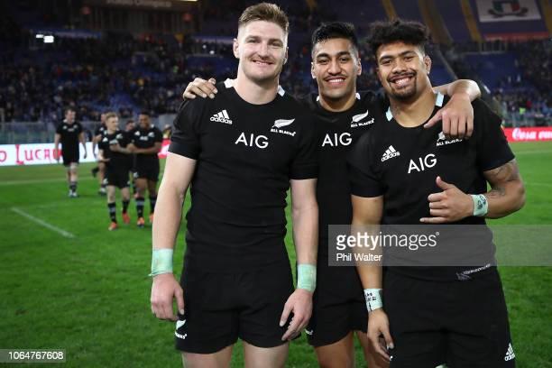 Jordie Barrett Rieko Ioane and Ardie Savea of the All Blacks celebrate following the International Rugby match between the New Zealand All Blacks and...