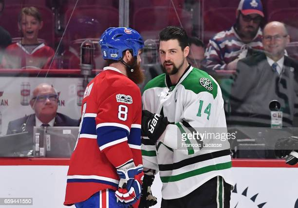 Jordie Benn of the Montreal Canadiens and Jamie Benn of the Dallas Stars exchange words prior the NHL game at the Bell Centre on March 28 2017 in...