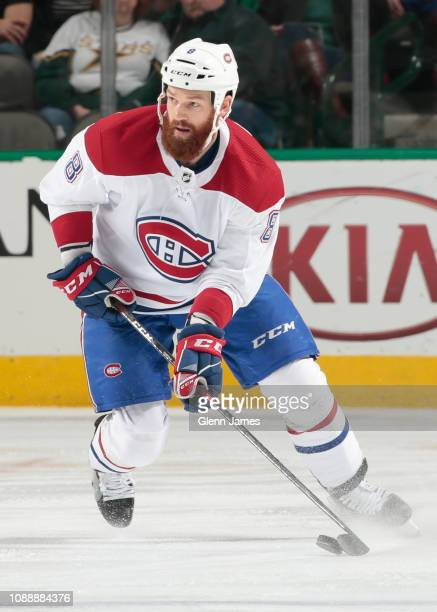 Jordie Benn of the Montreal Canadiens handles the puck against the Dallas Stars at the American Airlines Center on December 31, 2018 in Dallas, Texas.