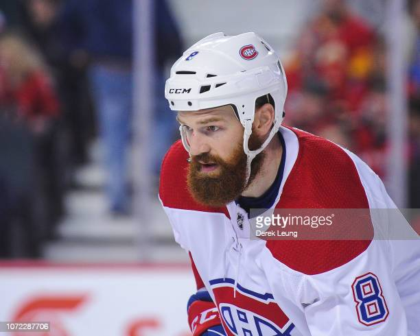 Jordie Benn of the Montreal Canadiens in action against the Calgary Flames during an NHL game at Scotiabank Saddledome on November 15, 2018 in...