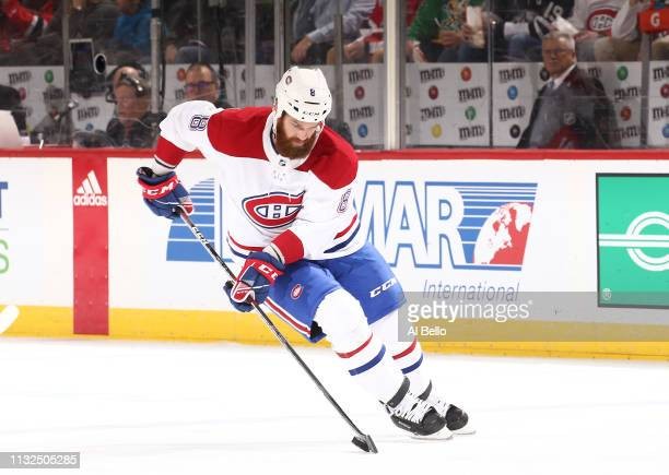 Jordie Benn of the Montreal Canadiens in action against the New Jersey Devils during their game at Prudential Center on February 25, 2019 in Newark,...