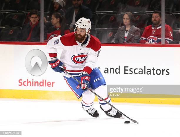Jordie Benn of the Montreal Canadiens in action against the New Jersey Devils during their game at Prudential Center on February 25 2019 in Newark...