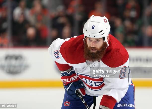 Jordie Benn of the Montreal Canadiens looks on against the Philadelphia Flyers on February 8 2018 at the Wells Fargo Center in Philadelphia...