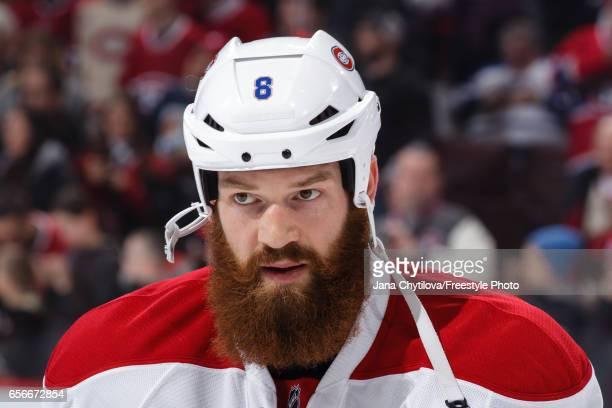 Jordie Benn of the Montreal Canadiens looks on during warmups prior to a game against the Ottawa Senators at Canadian Tire Centre on March 18 2017 in...