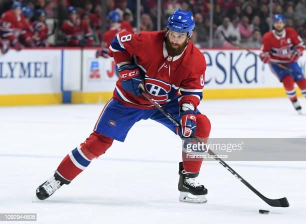 Jordie Benn of the Montreal Canadiens looks to pass the puck against the Nashville Predators in the NHL game at the Bell Centre on January 5 2019 in...