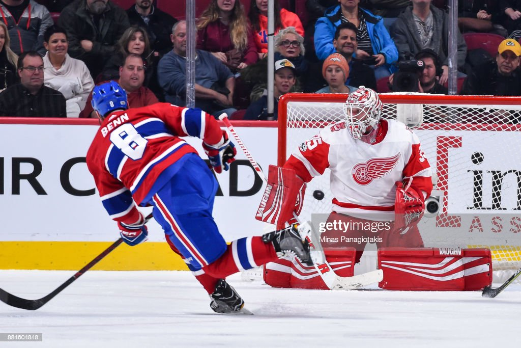 Jordie Benn #8 of the Montreal Canadiens scores on goaltender Jimmy Howard #35 of the Detroit Red Wings in the third period during the NHL game at the Bell Centre on December 2, 2017 in Montreal, Quebec, Canada. The Montreal Canadiens defeated the Detroit Red Wings 10-1.