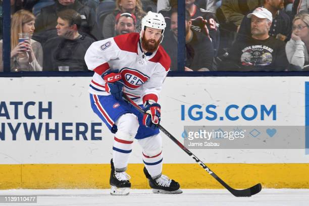 Jordie Benn of the Montreal Canadiens skates against the Columbus Blue Jackets on March 28 2019 at Nationwide Arena in Columbus Ohio