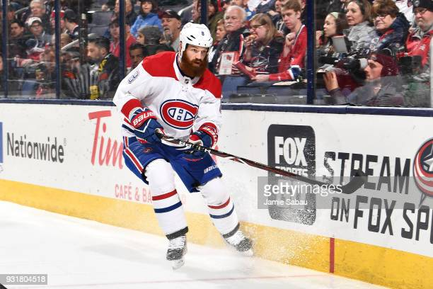 Jordie Benn of the Montreal Canadiens skates against the Columbus Blue Jackets on March 12 2018 at Nationwide Arena in Columbus Ohio