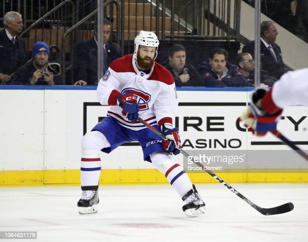 Jordie Benn of the Montreal Canadiens skates against the New York Rangers at Madison Square Garden on November 06 2018 in New York City The Rangers...