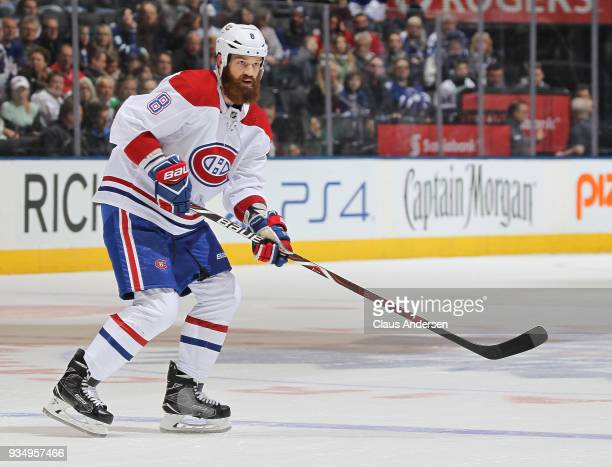 Jordie Benn of the Montreal Canadiens skates against the Toronto Maple Leafs during an NHL game at the Air Canada Centre on March 17 2018 in Toronto...